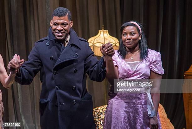 Actors Richard Prioleau and Olivia Washington attend The Glass Menagerie Opening Night Curtain Call at the 47th Street Theatre on May 14 2015 in New...