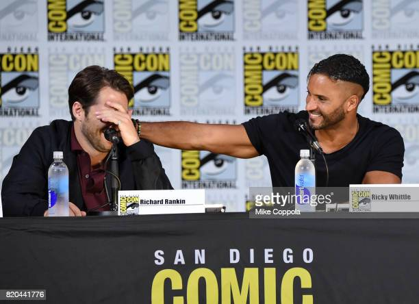 Actors Richard Rankin and Ricky Whittle speak onstage at Comic-Con International 2017 Brave New Warriors panel at San Diego Convention Center on July...