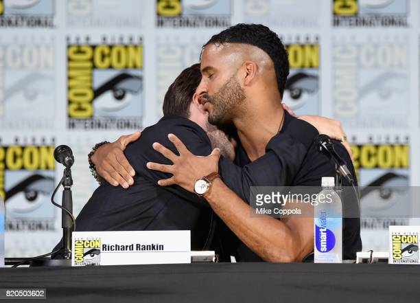 Actors Richard Rankin and Ricky Whittle speak onstage at ComicCon International 2017 Brave New Warriors panel at San Diego Convention Center on July...