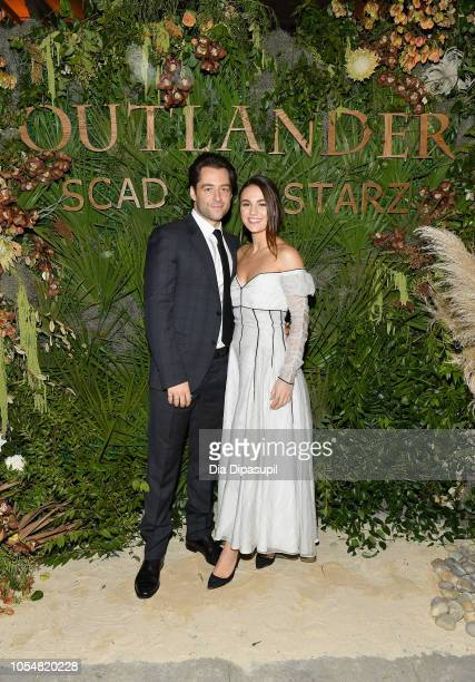 """Actors Richard Rankin and Sophie Skelton attends the 21st SCAD Savannah Film Festival """"Outlander"""" Season Four reception on October 28, 2018 in..."""