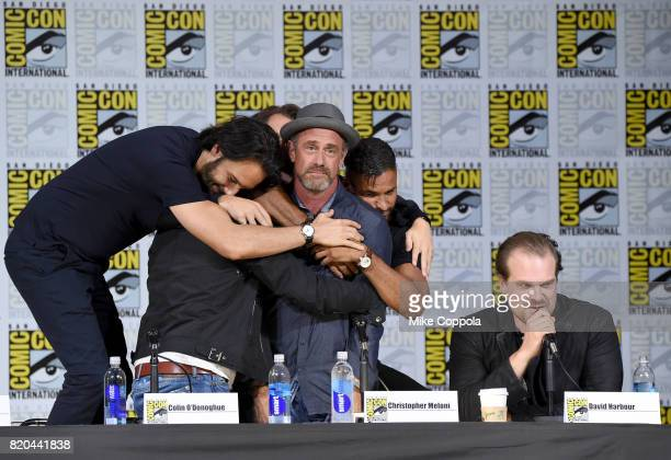 Actors Richard Rankin Colin O'Donoghue Christopher Meloni Ricky Whittle and David Harbour speak onstage at ComicCon International 2017 Brave New...