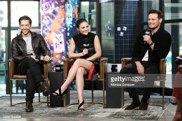 Actors Richard Rankin Sophie Skelton and Sam Heughan visit Build Studio to discuss the television series 'Outlander' on October 31 2018 in New York...