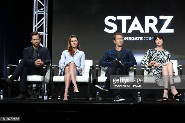 Actors Richard Rankin Sophie Skelton Tobias Menzies and Caitriona Balfe of 'Outlander' speak onstage during the Starz portion of the 2017 Summer...