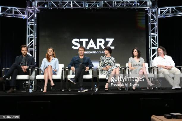 Actors Richard Rankin Sophie Skelton Tobias Menzies Caitriona Balfe executive producer Maril Davis and showrunner/writer/executive producer Ronald D...