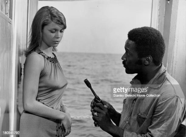 Actors Richard Roundtree and Neda Arneric in a scene from the movie 'Shaft in Africa' 1973