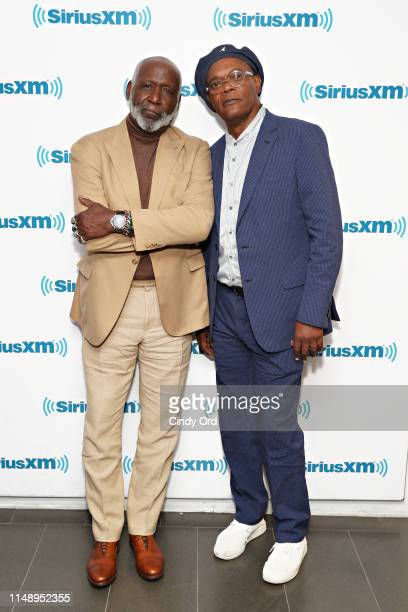 Actors Richard Roundtree and Samuel L Jackson take part in SiriusXM's Town Hall with the cast of 'Shaft' hosted by Sway Calloway at SiriusXM Studios...