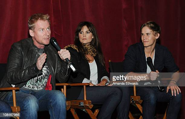 Actors Richard Roxburgh Alice Parkinson and Rhys Wakefield participate in a QA session following an Australians In Film screening of Universal...