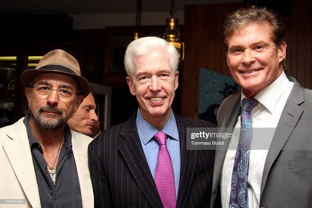 Actors Richard Schiff, Gov. Gray Davis and David Hasselhoff attend the 'Chasing The Hill' reception held at the Pacific Mariners Yacht Club on June 12, 2013 in Marina del Rey, California.