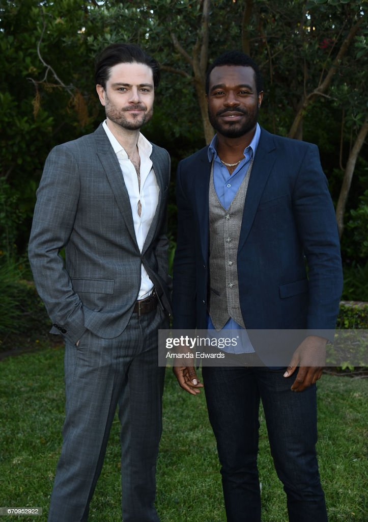 Actors Richard Short (L) and Lyriq Bent attend the premiere of 'Mary Kills People' at the Official Residence Of Canada on April 20, 2017 in Los Angeles, California.