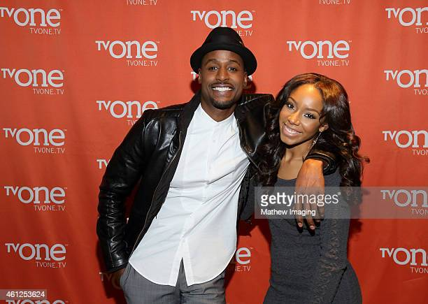 Actors Richard T Jones and Jahnee Wallace attend the TV One Winter 2015 TCA Panel at the Langham Hotel on January 9 2015 in Pasadena California
