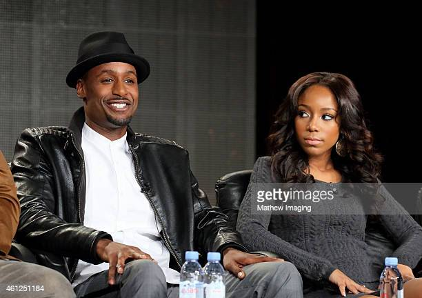 Actors Richard T Jones and Jahnee Wallace speak onstage during the 'White Water' panel at the the TV One Winter 2015 TCA Panel at the Langham Hotel...