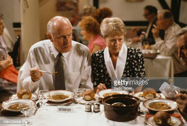 Actors Richard Wilson and Annette Crosbie in a restaurant scene from episode 'Love and Death' of the BBC Television sitcom 'One Foot in the Grave'...
