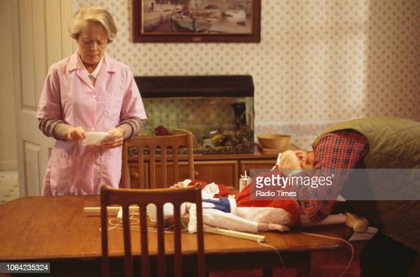 Actors Richard Wilson and Annette Crosbie in a scene from episode 'The Wisdom of the Witch' of the BBC Television sitcom 'One Foot in the Grave'...