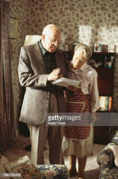 Actors Richard Wilson and Annette Crosbie in a scene from the Christmas special episode 'Starbound' of the BBC Television sitcom 'One Foot in the...