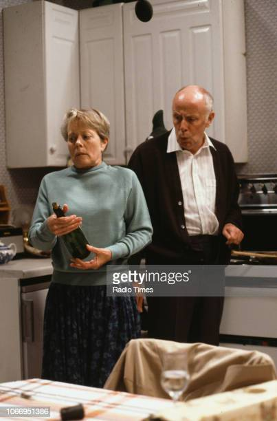 Actors Richard Wilson and Annette Crosbie in a scene from the Christmas special episode 'Who's Listening' of the television sitcom 'One Foot in the...