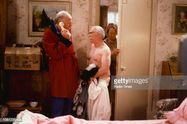 Actors Richard Wilson John Barrard and Annette Crosbie in a scene from episode 'The Eternal Quadrangle' of the BBC Television sitcom 'One Foot in the...