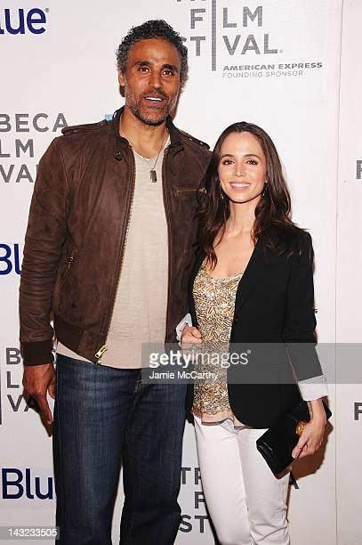 Actors Rick Fox and Eliza Dushku walk the red carpet at the World Premiere Of Morgan Spurlock's 'MANSOME' at the Tribeca Film Festival on April 21...
