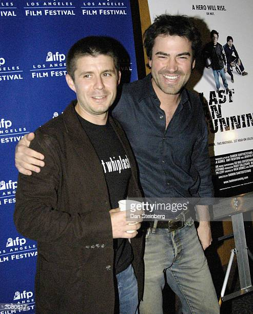 Actors Rick Gomez and Ron Livingston arrive at the premiere of Last Man Running at the Directors Guild of America theater on June 13 2003 in...