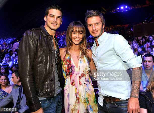Actors Rick Malambri Sharni Vinson and soccer player David Beckham attend the 2010 Teen Choice Awards at Gibson Amphitheatre on August 8 2010 in...