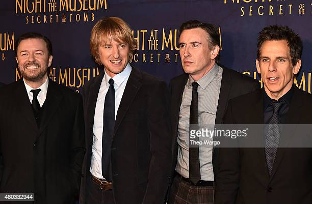 "Actors Ricky Gervais, Owen Wilson, Steve Coogan and Ben Stiller attend the ""Night At The Museum: Secret Of The Tomb"" New York Premiere at Ziegfeld..."