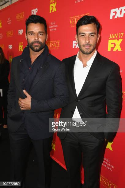 Actors Ricky Martin and Jwan Yosef attend the premiere of FX's 'The Assassination Of Gianni Versace American Crime Story' at ArcLight Hollywood on...
