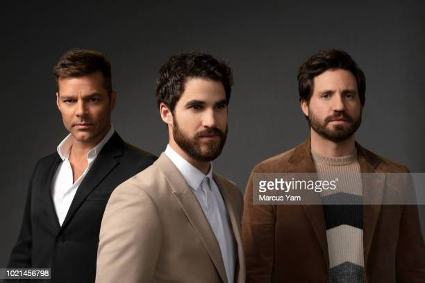 Actors Ricky Martin, Darren Criss and Edgar Ramirez are photographed for Los Angeles Times on March 19, 2018 in Los Angeles, California. PUBLISHED...