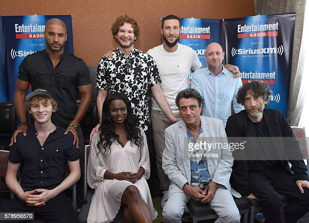 Actors Ricky Whittle Bryan Fuller and Pablo Schreiber writer Michael Green actors Bruce Langley Yetide Badaki and Ian McShane and writer Neil Gaiman...