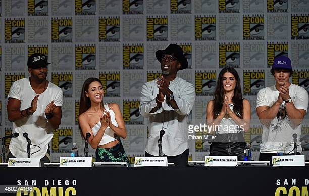 Actors Ricky Whittle Lindsey Morgan Isaiah Washington Marie Avgeropoulos and Bob Morley attend a special video presentation and panel for The 100...