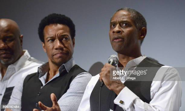Actors Rico E Anderson and Tim Russ participate in the QA at the Cast And Crew Screening Of 5th Passenger held at TCL Chinese 6 Theatres on December...