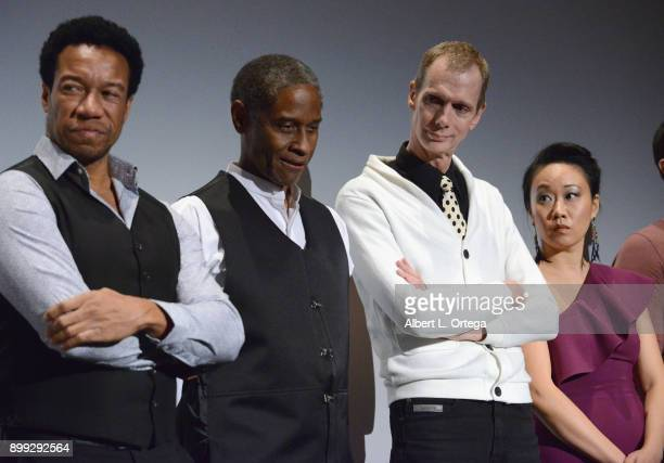 Actors Rico E Anderson Tim Russ Doug Jones and Ann Hu participate in the QA at the Cast And Crew Screening Of 5th Passenger held at TCL Chinese 6...