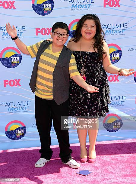 Actors Rico Rodriguez and Raini Rodriguez arrive at the 2012 Teen Choice Awards at Gibson Amphitheatre on July 22, 2012 in Universal City, California.