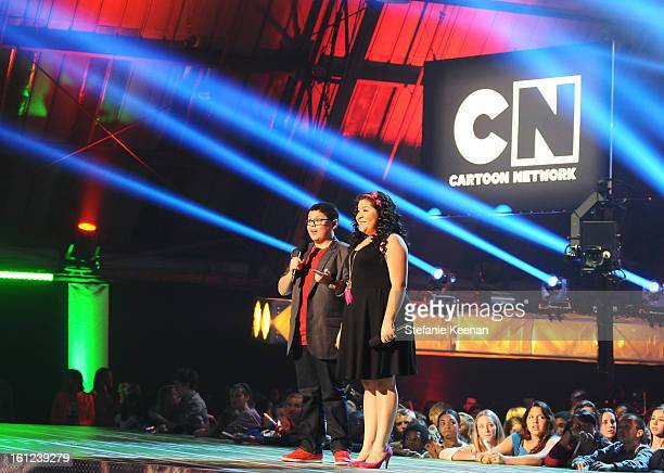 Actors Rico Rodriguez and Raini Rodriguez speak onstage during the Third Annual Hall of Game Awards hosted by Cartoon Network at Barker Hangar on...