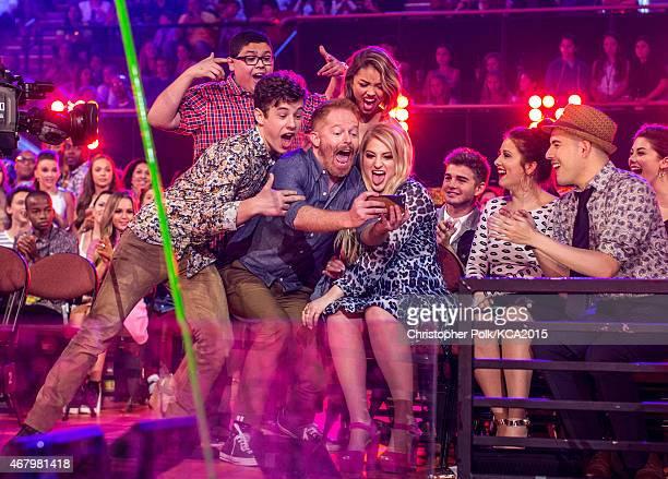 Actors Rico Rodriguez Ariel Winter Sarah Hyland actors Nolan Gould Jesse Tyler Ferguson and singer Meghan Trainor attend Nickelodeon's 28th Annual...