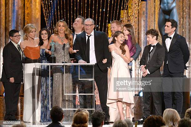 Actors Rico Rodriguez, Julie Bowen, Ariel Winter, Sofia Vergara, Eric Stonestreet, Ed O'Neill, Jesse Tyler Ferguson, Sarah Hyland, Aubrey...