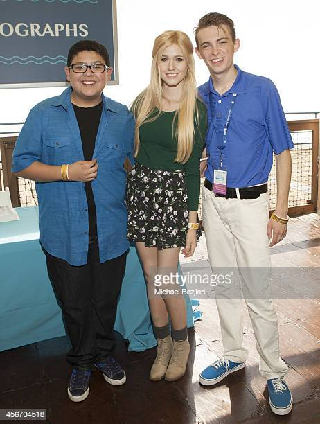 Actors Rico Rodriguez Katherine McNamara and Dylan Riley Snyder attend Mattel's 5th Annual Party On The Pier Hosted By Sarah Michelle Gellar at Santa...