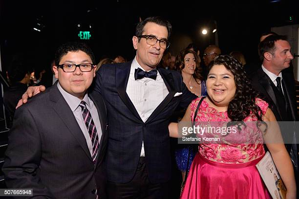 Actors Rico Rodriguez Ty Burrell and Raini Rodriguez attend The 22nd Annual Screen Actors Guild Awards at The Shrine Auditorium on January 30 2016 in...