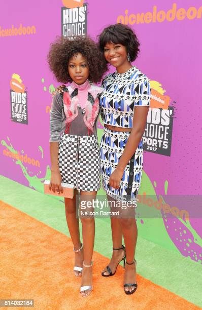Actors Riele Downs and Reiya Downs attend Nickelodeon Kids' Choice Sports Awards 2017 at Pauley Pavilion on July 13 2017 in Los Angeles California