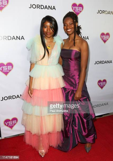 "Actors Riele Downs and Reiya Downs attend the ""Young Hollywood Prom"" hosted by YSBnow and Jordana Cosmetics on May 04, 2019 in Los Angeles,..."