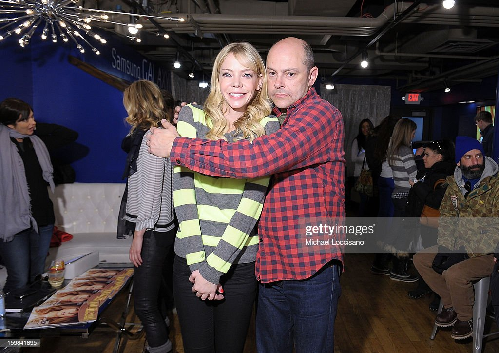 Actors Riki Lindhome and Rob Corddry attend Day 4 of Samsung at Village At The Lift 2013 on January 21, 2013 in Park City, Utah.