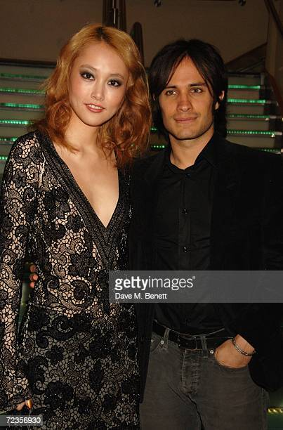 Actors Rinko Kikuchi and Gael Garcia Bernal arrive at the premiere of 'Babel' at the closing night of the Times BFI 50th London Film Festival held at...