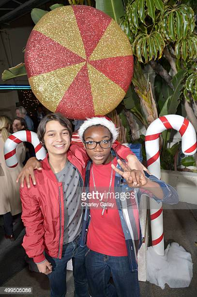Actors Rio Mangini and Jaheem Toombs attend a screening of Nickelodeon's Ho Ho Holiday Special at Paramount Studios on December 1 2015 in Hollywood...