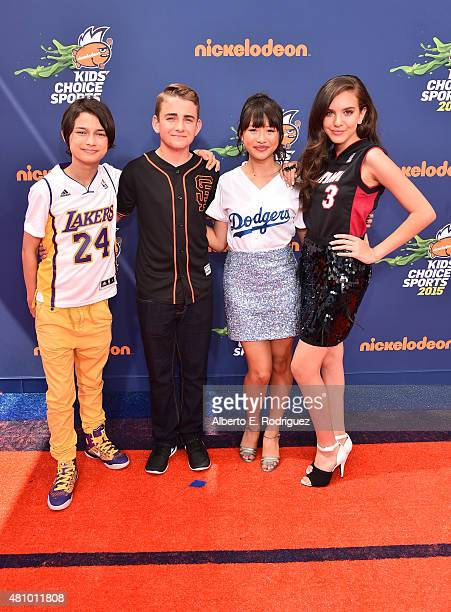 Actors Rio Mangini Buddy Handleson Haley Tju and Lilimar attend the Nickelodeon Kids' Choice Sports Awards 2015 at UCLA's Pauley Pavilion on July 16...