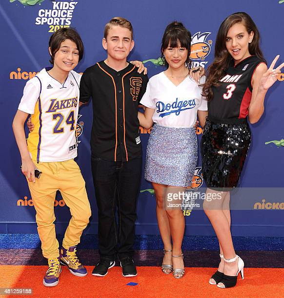 Actors Rio Mangini Buddy Handleson Haley Tju and Lilimar attend the Nickelodeon Kids' Choice Sports Awards at UCLA's Pauley Pavilion on July 16 2015...