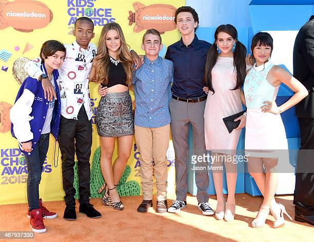 Actors Rio Mangini Coy Stewart Brec Bassinger Buddy Handleson Jackie Radinsky Lilimar Hernandez and Haley Tju attend Nickelodeon's 28th Annual Kids'...