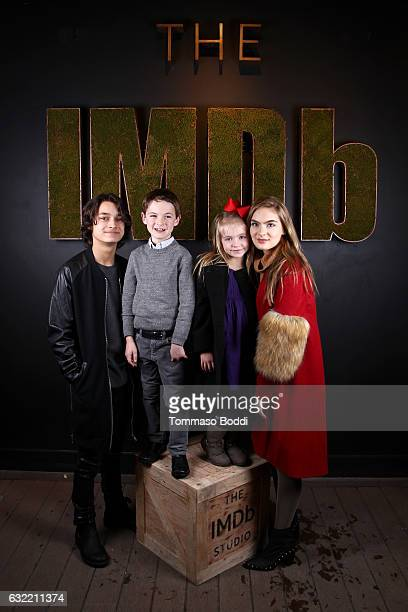 Actors Rio Mangini Jason Maybaum Kingston Foster and Brighton Sharbino of 'Bitch' attend The IMDb Studio featuring the Filmmaker Discovery Lounge...