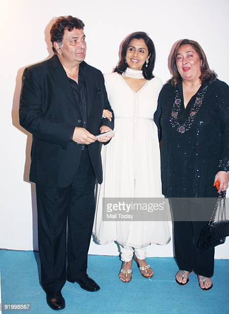 Actors Rishi Kapoor and Neetu Singh with Ritu Nanda at the last day of the HDIL India Couture Week in Mumbai on Friday October 16 2009