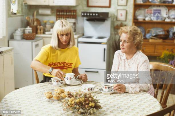 Actors Rita Tushingham and Jean Boht in a kitchen scene from the BBC television sitcom 'Bread' August 21st 1988