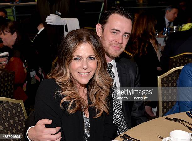 Actors Rita Wilson and Colin Hanks pose in the audience during USC Shoah Foundation's 20th Anniversary Gala at the Hyatt Regency Century Plaza on May...