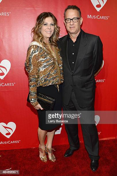Actors Rita Wilson and Tom Hanks attend 2014 MusiCares Person Of The Year Honoring Carole King at Los Angeles Convention Center on January 24, 2014...