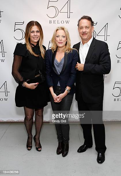 Actors Rita Wilson and Tom Hanks pose with actress/ singer Sherie Rene Scott backstage prior to her performance at 54 Below on October 19 2012 in New...
